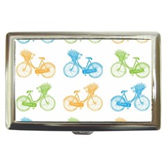 Vintage Bikes With Basket Of Flowers Colorful Wallpaper Background Illustration Cigarette Money Cases