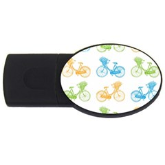 Vintage Bikes With Basket Of Flowers Colorful Wallpaper Background Illustration USB Flash Drive Oval (1 GB)
