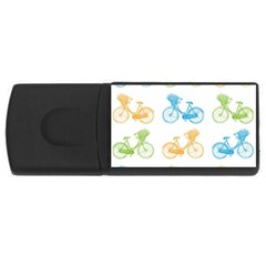 Vintage Bikes With Basket Of Flowers Colorful Wallpaper Background Illustration USB Flash Drive Rectangular (1 GB)
