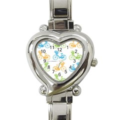 Vintage Bikes With Basket Of Flowers Colorful Wallpaper Background Illustration Heart Italian Charm Watch