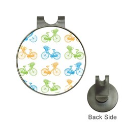 Vintage Bikes With Basket Of Flowers Colorful Wallpaper Background Illustration Hat Clips with Golf Markers