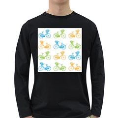 Vintage Bikes With Basket Of Flowers Colorful Wallpaper Background Illustration Long Sleeve Dark T Shirts