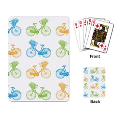 Vintage Bikes With Basket Of Flowers Colorful Wallpaper Background Illustration Playing Card