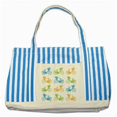 Vintage Bikes With Basket Of Flowers Colorful Wallpaper Background Illustration Striped Blue Tote Bag