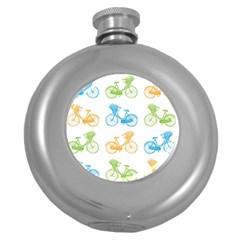 Vintage Bikes With Basket Of Flowers Colorful Wallpaper Background Illustration Round Hip Flask (5 oz)