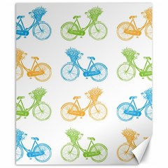 Vintage Bikes With Basket Of Flowers Colorful Wallpaper Background Illustration Canvas 8  x 10