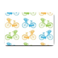 Vintage Bikes With Basket Of Flowers Colorful Wallpaper Background Illustration Small Doormat