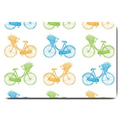 Vintage Bikes With Basket Of Flowers Colorful Wallpaper Background Illustration Large Doormat