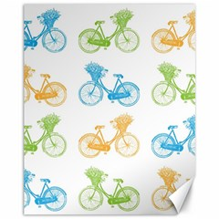 Vintage Bikes With Basket Of Flowers Colorful Wallpaper Background Illustration Canvas 11  X 14