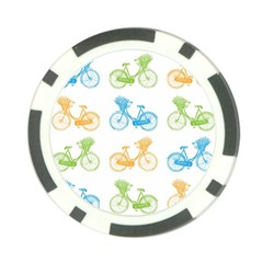 Vintage Bikes With Basket Of Flowers Colorful Wallpaper Background Illustration Poker Chip Card Guard