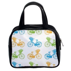 Vintage Bikes With Basket Of Flowers Colorful Wallpaper Background Illustration Classic Handbags (2 Sides)