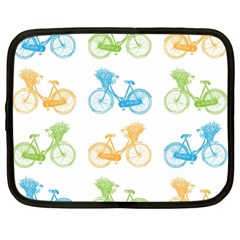 Vintage Bikes With Basket Of Flowers Colorful Wallpaper Background Illustration Netbook Case (xl)