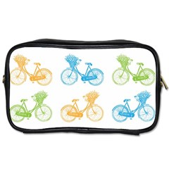Vintage Bikes With Basket Of Flowers Colorful Wallpaper Background Illustration Toiletries Bags