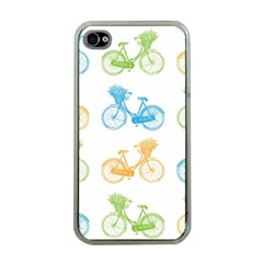 Vintage Bikes With Basket Of Flowers Colorful Wallpaper Background Illustration Apple iPhone 4 Case (Clear)