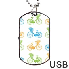 Vintage Bikes With Basket Of Flowers Colorful Wallpaper Background Illustration Dog Tag USB Flash (One Side)