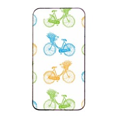 Vintage Bikes With Basket Of Flowers Colorful Wallpaper Background Illustration Apple iPhone 4/4s Seamless Case (Black)