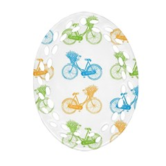 Vintage Bikes With Basket Of Flowers Colorful Wallpaper Background Illustration Oval Filigree Ornament (Two Sides)