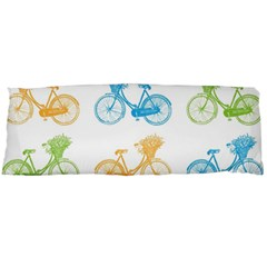 Vintage Bikes With Basket Of Flowers Colorful Wallpaper Background Illustration Body Pillow Case Dakimakura (Two Sides)