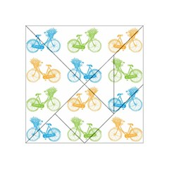 Vintage Bikes With Basket Of Flowers Colorful Wallpaper Background Illustration Acrylic Tangram Puzzle (4  x 4 )