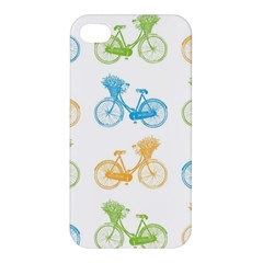 Vintage Bikes With Basket Of Flowers Colorful Wallpaper Background Illustration Apple iPhone 4/4S Premium Hardshell Case