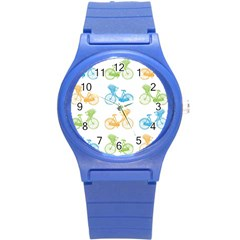 Vintage Bikes With Basket Of Flowers Colorful Wallpaper Background Illustration Round Plastic Sport Watch (S)