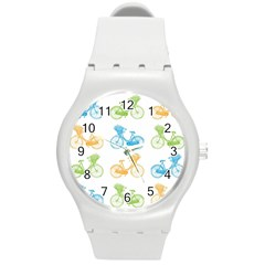 Vintage Bikes With Basket Of Flowers Colorful Wallpaper Background Illustration Round Plastic Sport Watch (M)
