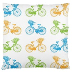 Vintage Bikes With Basket Of Flowers Colorful Wallpaper Background Illustration Large Cushion Case (Two Sides)