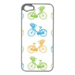 Vintage Bikes With Basket Of Flowers Colorful Wallpaper Background Illustration Apple iPhone 5 Case (Silver)