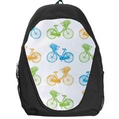 Vintage Bikes With Basket Of Flowers Colorful Wallpaper Background Illustration Backpack Bag