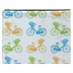 Vintage Bikes With Basket Of Flowers Colorful Wallpaper Background Illustration Cosmetic Bag (XXXL)