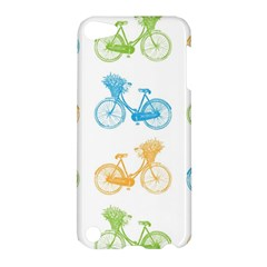 Vintage Bikes With Basket Of Flowers Colorful Wallpaper Background Illustration Apple iPod Touch 5 Hardshell Case