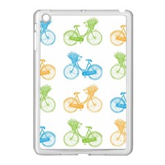 Vintage Bikes With Basket Of Flowers Colorful Wallpaper Background Illustration Apple iPad Mini Case (White)
