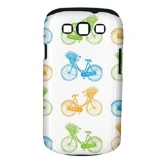 Vintage Bikes With Basket Of Flowers Colorful Wallpaper Background Illustration Samsung Galaxy S III Classic Hardshell Case (PC+Silicone)