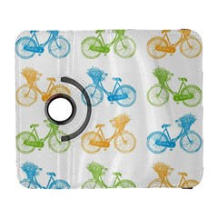 Vintage Bikes With Basket Of Flowers Colorful Wallpaper Background Illustration Galaxy S3 (flip/folio)