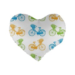 Vintage Bikes With Basket Of Flowers Colorful Wallpaper Background Illustration Standard 16  Premium Heart Shape Cushions