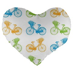 Vintage Bikes With Basket Of Flowers Colorful Wallpaper Background Illustration Large 19  Premium Heart Shape Cushions