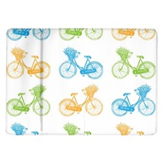 Vintage Bikes With Basket Of Flowers Colorful Wallpaper Background Illustration Samsung Galaxy Tab 10 1  P7500 Flip Case