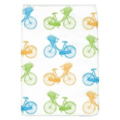 Vintage Bikes With Basket Of Flowers Colorful Wallpaper Background Illustration Flap Covers (l)