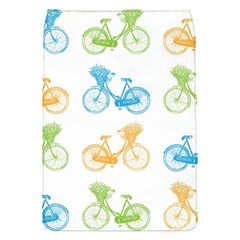 Vintage Bikes With Basket Of Flowers Colorful Wallpaper Background Illustration Flap Covers (s)