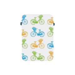 Vintage Bikes With Basket Of Flowers Colorful Wallpaper Background Illustration Apple Ipad Mini Protective Soft Cases
