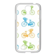 Vintage Bikes With Basket Of Flowers Colorful Wallpaper Background Illustration Samsung GALAXY S4 I9500/ I9505 Case (White)