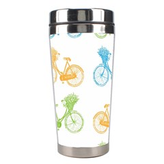 Vintage Bikes With Basket Of Flowers Colorful Wallpaper Background Illustration Stainless Steel Travel Tumblers
