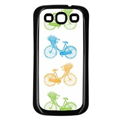 Vintage Bikes With Basket Of Flowers Colorful Wallpaper Background Illustration Samsung Galaxy S3 Back Case (black)