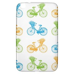 Vintage Bikes With Basket Of Flowers Colorful Wallpaper Background Illustration Samsung Galaxy Tab 3 (8 ) T3100 Hardshell Case