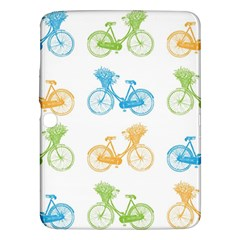 Vintage Bikes With Basket Of Flowers Colorful Wallpaper Background Illustration Samsung Galaxy Tab 3 (10.1 ) P5200 Hardshell Case