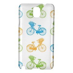Vintage Bikes With Basket Of Flowers Colorful Wallpaper Background Illustration Samsung Galaxy Note 3 N9005 Hardshell Case