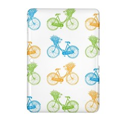 Vintage Bikes With Basket Of Flowers Colorful Wallpaper Background Illustration Samsung Galaxy Tab 2 (10.1 ) P5100 Hardshell Case