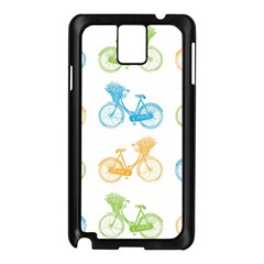 Vintage Bikes With Basket Of Flowers Colorful Wallpaper Background Illustration Samsung Galaxy Note 3 N9005 Case (Black)