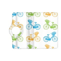 Vintage Bikes With Basket Of Flowers Colorful Wallpaper Background Illustration Kindle Fire HD (2013) Flip 360 Case