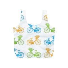 Vintage Bikes With Basket Of Flowers Colorful Wallpaper Background Illustration Full Print Recycle Bags (S)